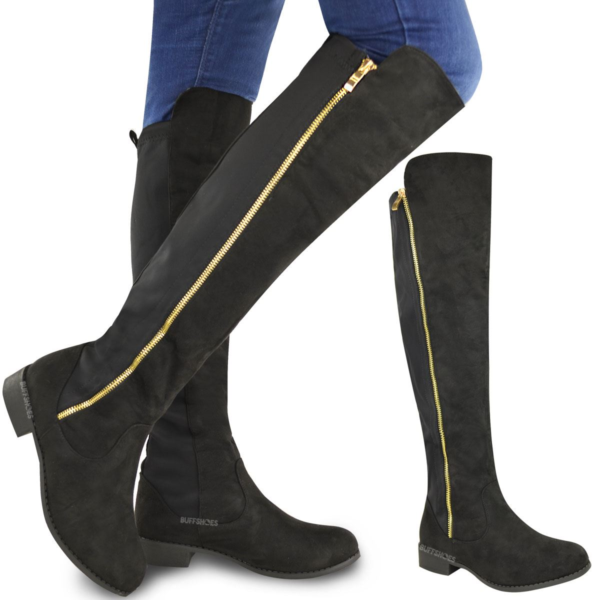 womens flat low heel knee high stretch boots