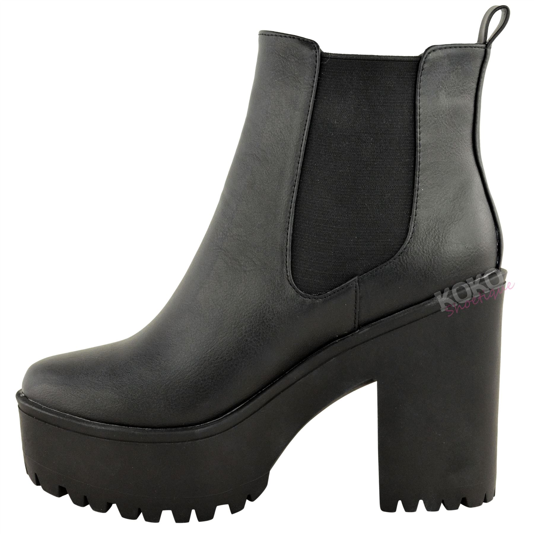 damen chelsea boots hoher blockabsatz plateau sohle mit rillen ebay. Black Bedroom Furniture Sets. Home Design Ideas