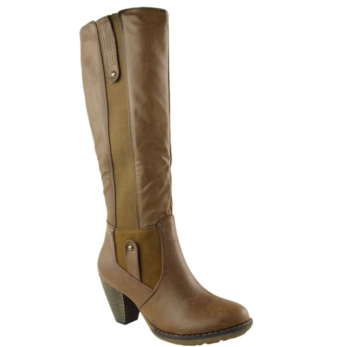 womens wide leg knee high mid calf block heel