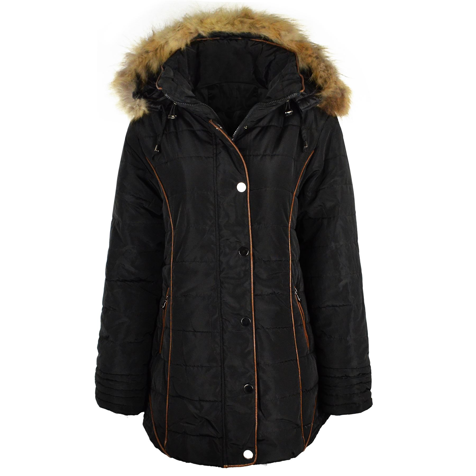 LADIES WOMENS PLUS SIZE QUILTED WINTER COAT PADDED PUFFA ...