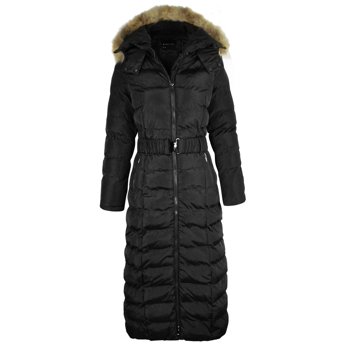 LADIES WOMENS LONG BODY FULL LENGTH PADDED QUILTED PUFFER JACKET ...