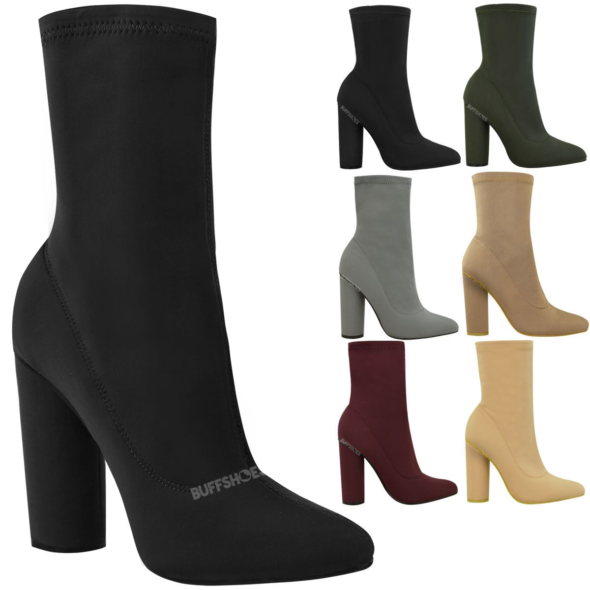 bb8c78929e2d Womens Ladies Block High Heels Stretchy Lycra Ankle Boots Wide Fit ...