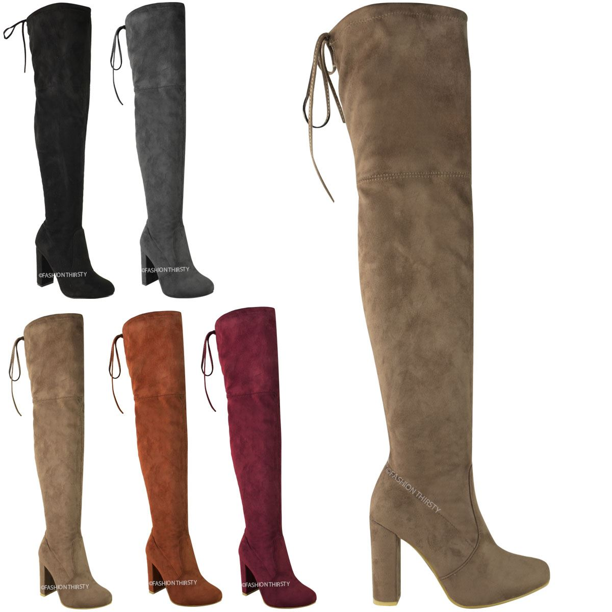 WOMENS LADIES THIGH HIGH BOOTS OVER THE KNEE PARTY STRETCH BLOCK ...