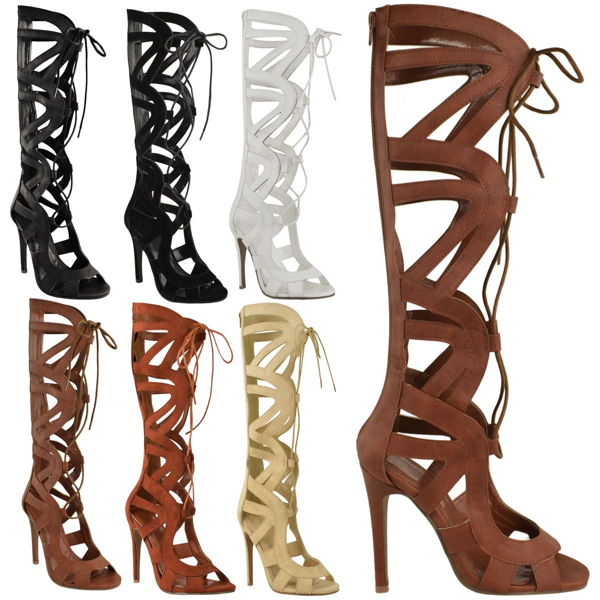 Ladies Womens Knee High Lace Up Cut Out Shoes Heels Gladiator ...