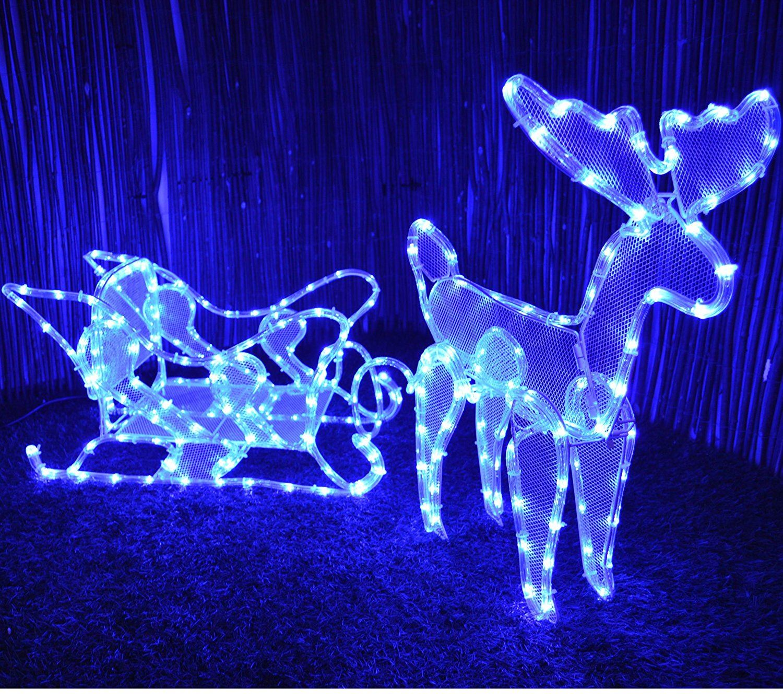 reindeer sleigh outdoor christmas illuminated rope light. Black Bedroom Furniture Sets. Home Design Ideas