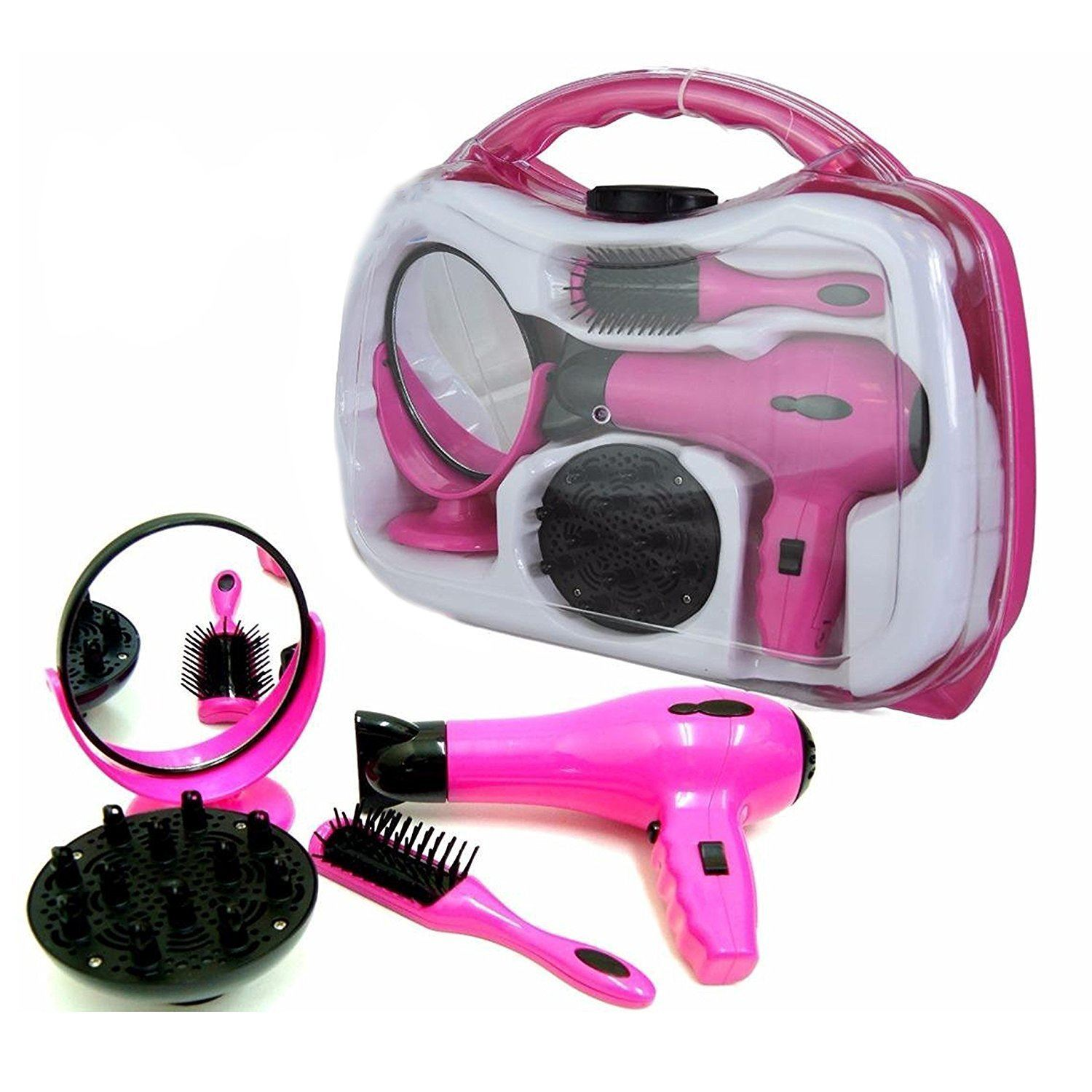 Battery Operated Dryer ~ Battery operated girls hair dryer toy play set in carry