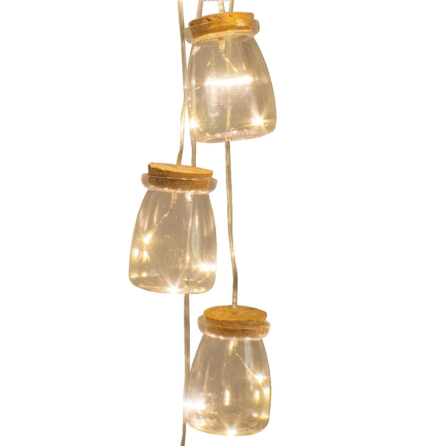 Set Of 5 Vintage Mini Bottle Jar Indoor String Lights 15 Warm White LED Bulbs eBay