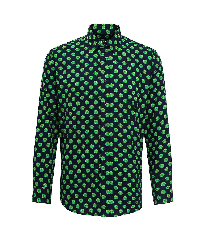 Christmas printed santa mens shirt funny sprout long for Mens printed long sleeve shirts