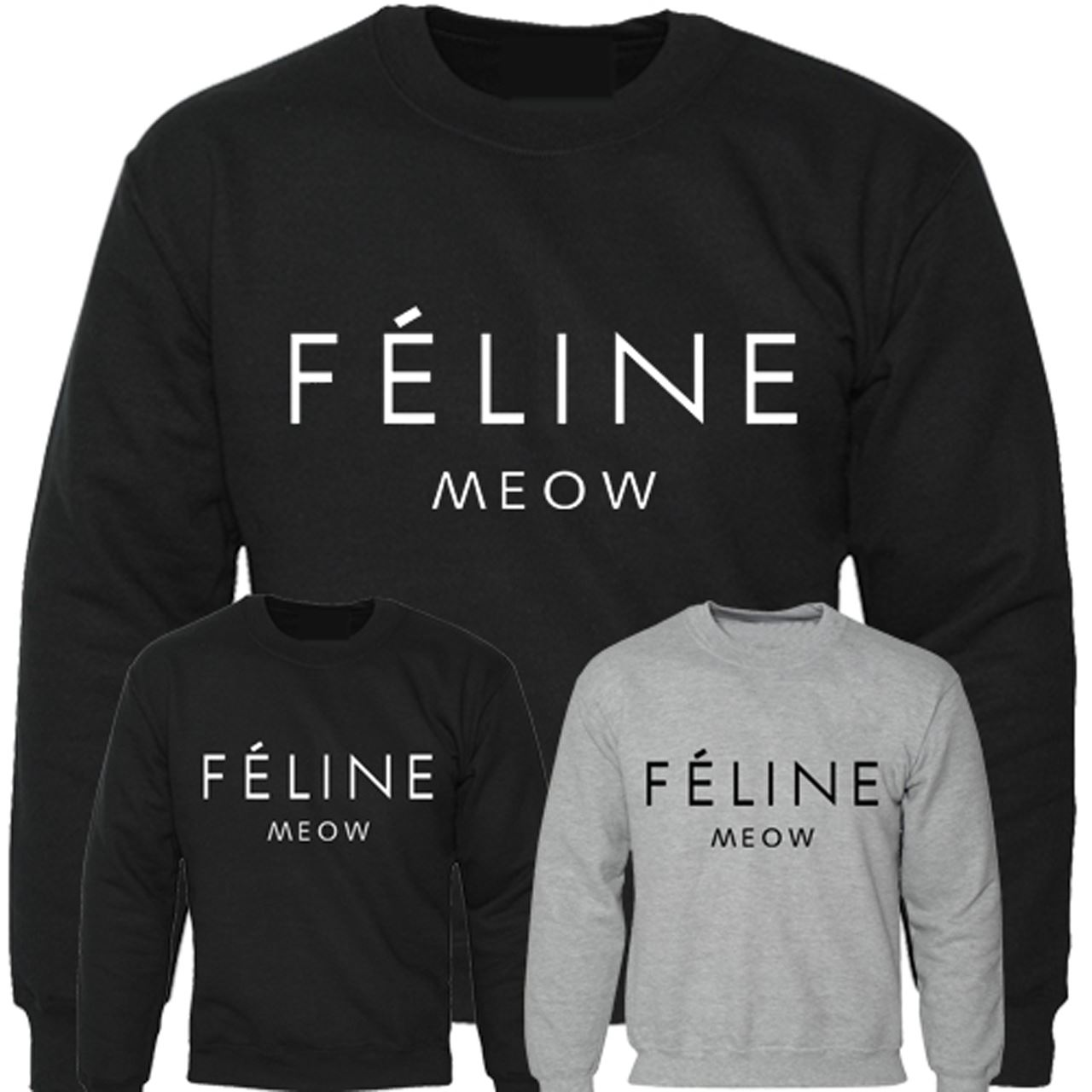 Mens-Boys-Unisex-Feline-Meow-Swag-Sweater-Hoodie-Sweat-Shirt-All-Sizes
