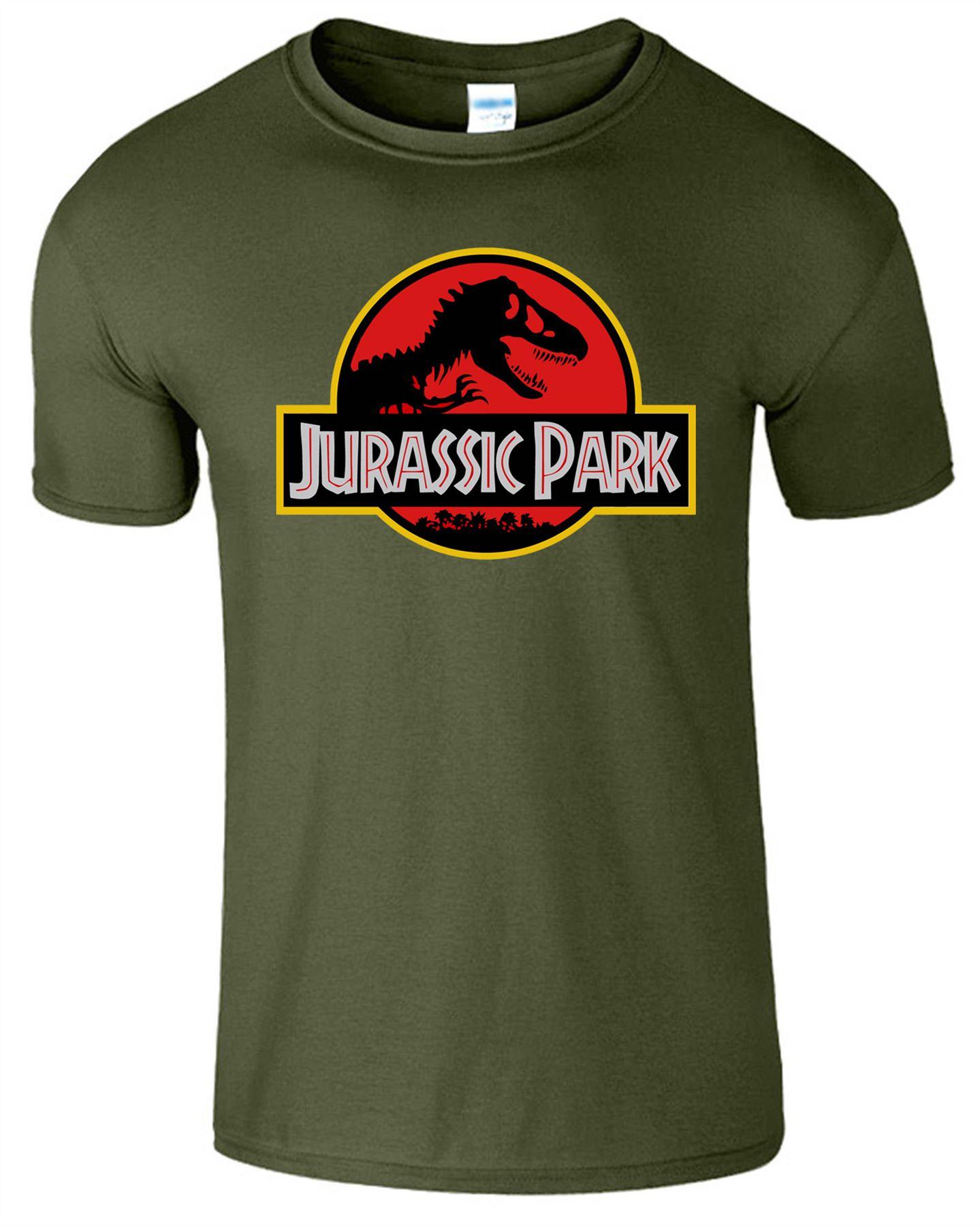 Jurassic park mens logo movie retro top cotton t shirts for Mens colored t shirts