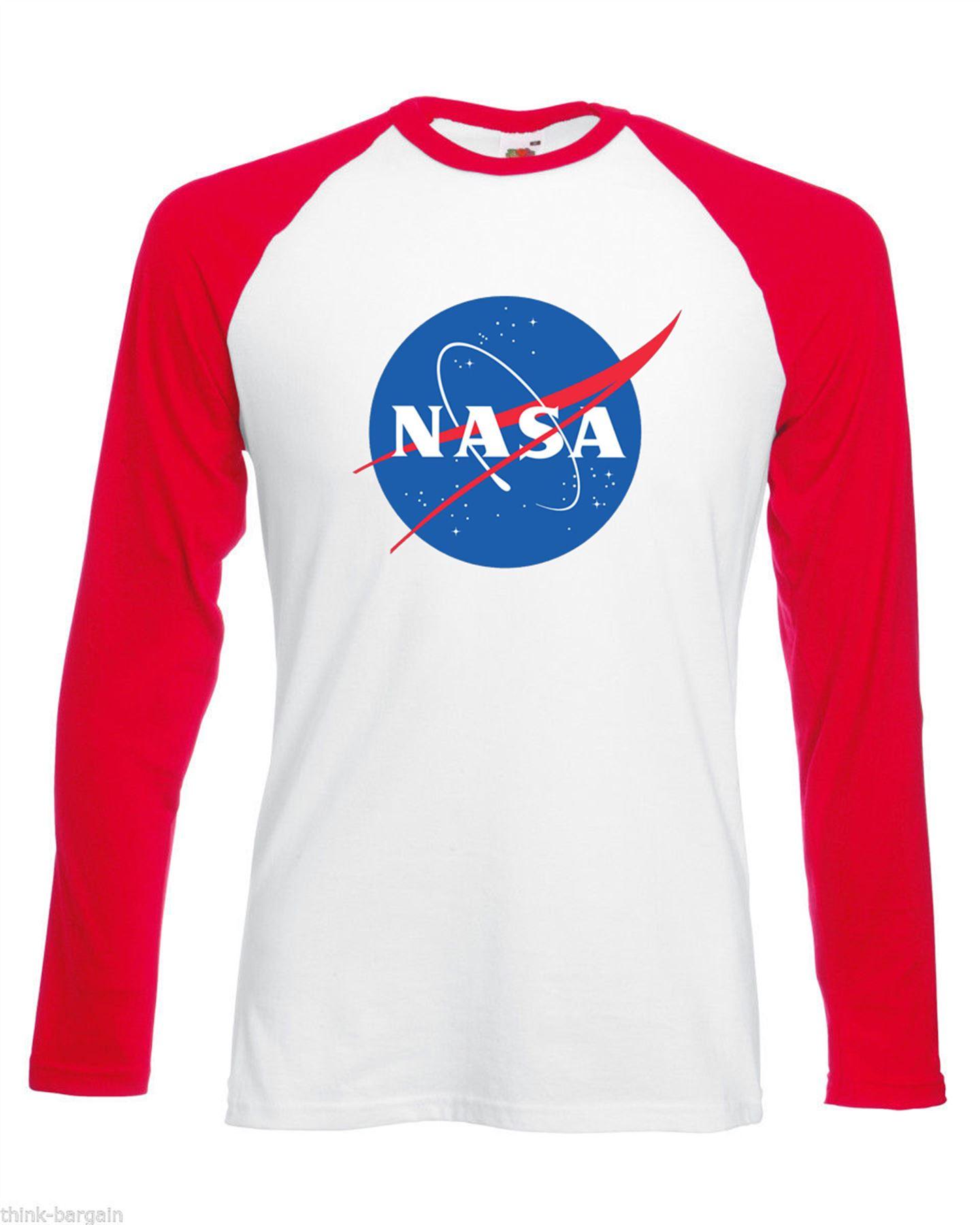 Nasa space mens t shirt long sleeve astronaut slogan for Best baseball t shirts