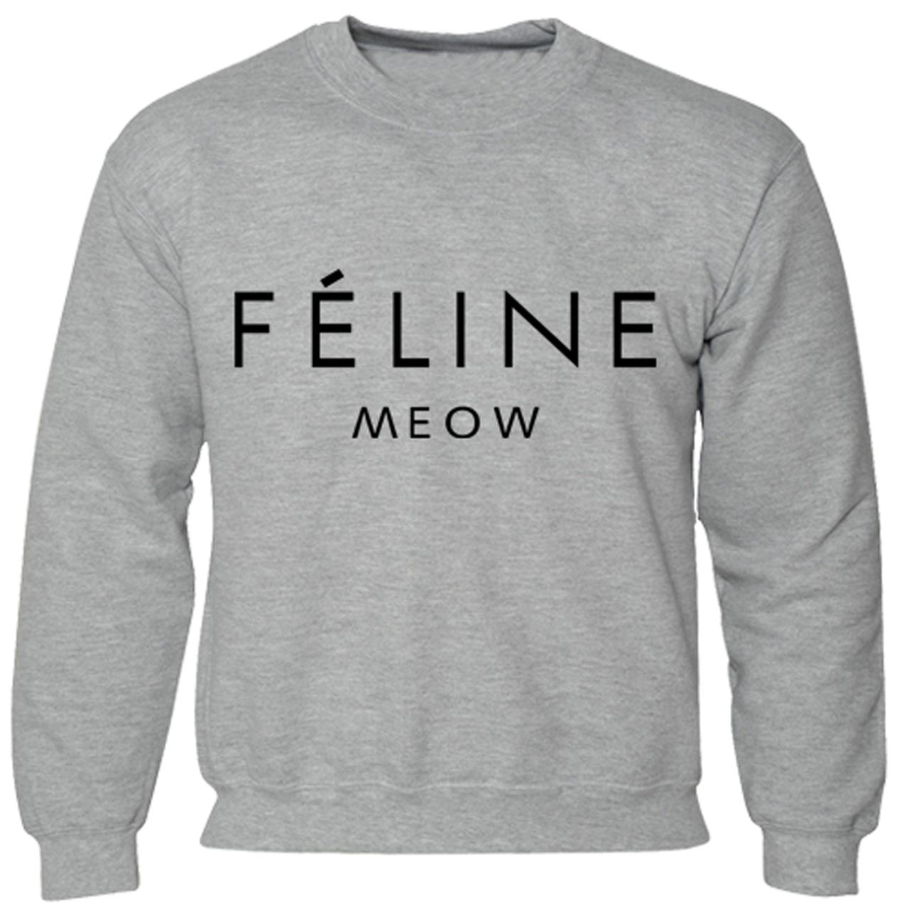Mens-Boys-Unisex-Feline-Meow-Swag-Sweater-Hoodie-Sweat-Shirt-All-Sizes thumbnail 3