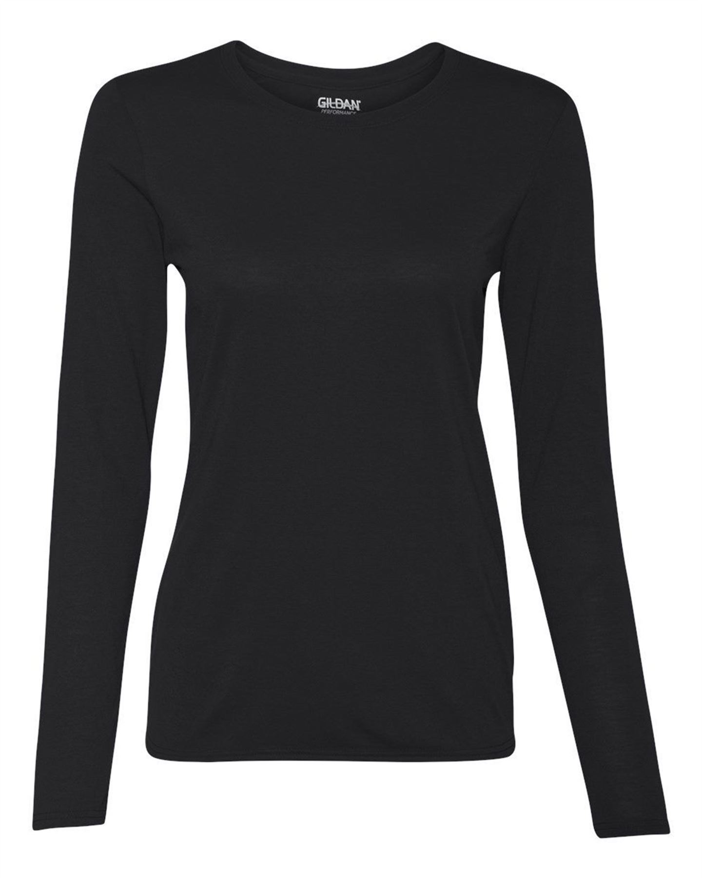 Gildan performance womens ladies t shirt long sleeve crew for Women s crew t shirts
