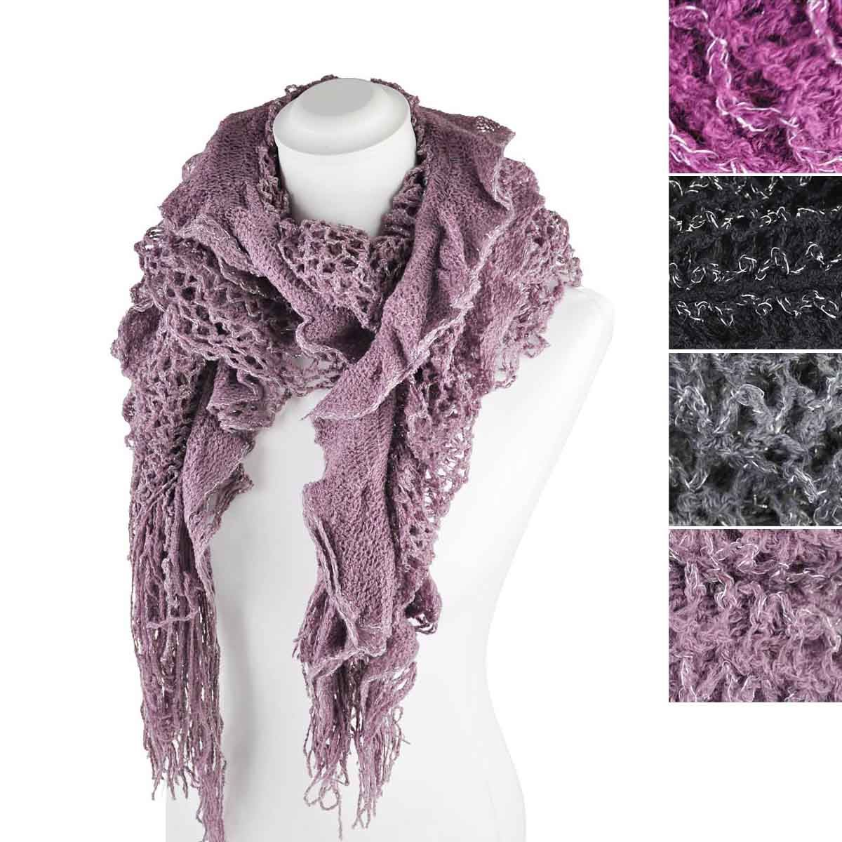 silver lurex knitted scarf elasticated fabric winter