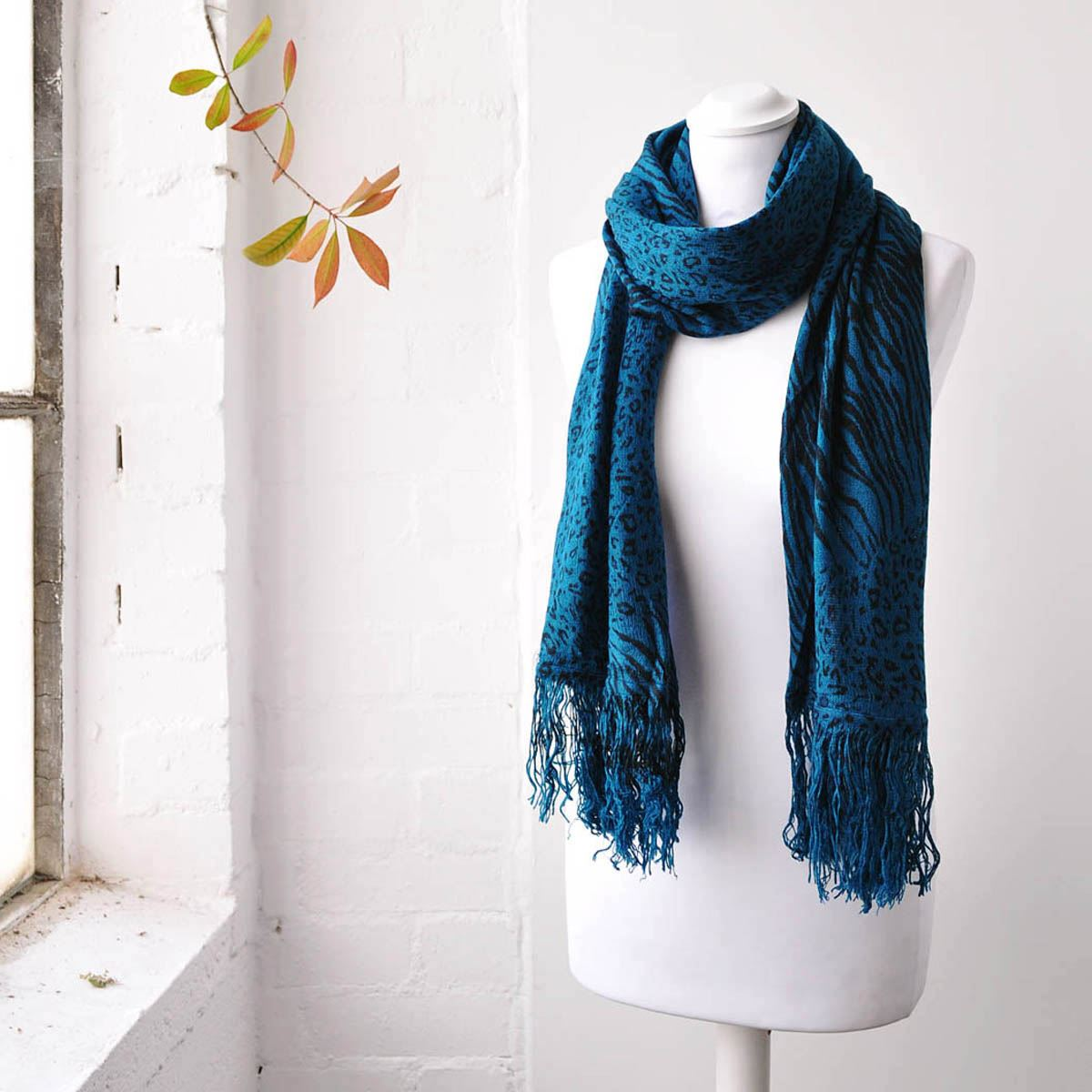 stylish leopard zebra scarf autumn winter soft