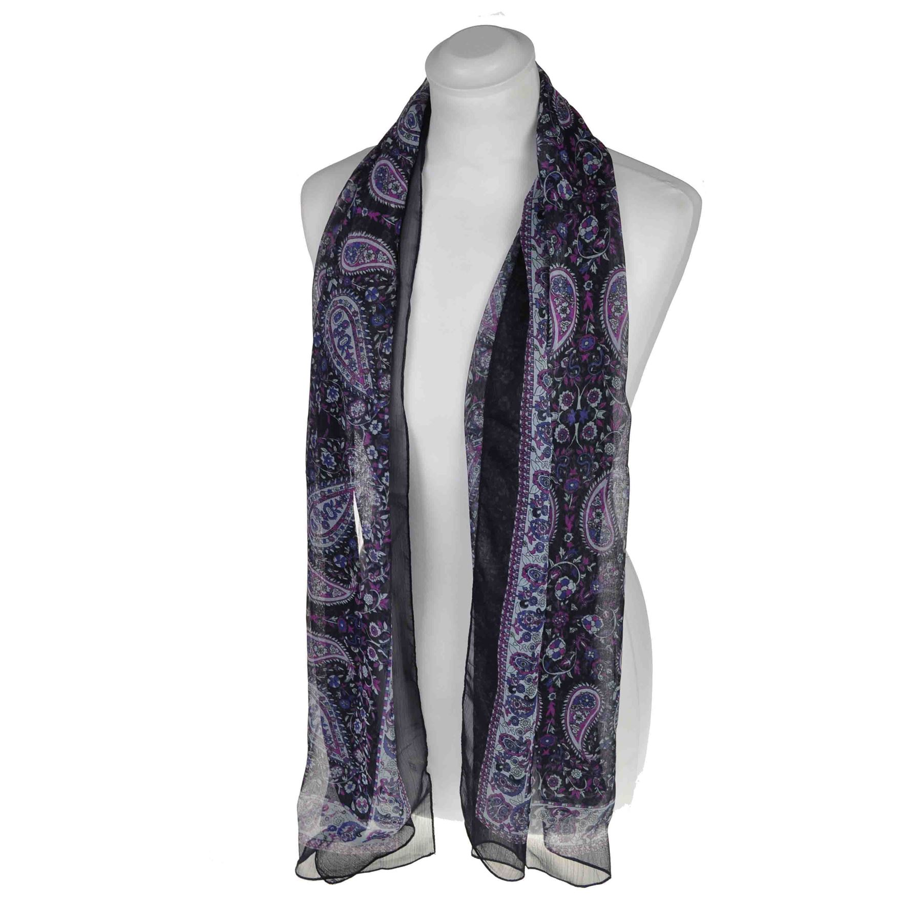 paisley boarder scarf chiffon light fabric neck
