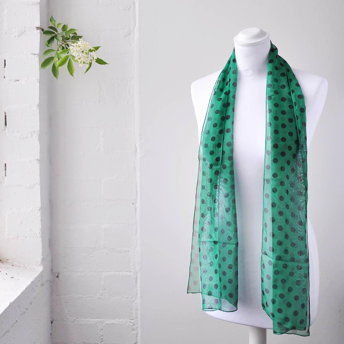 retro 10mm polka dot scarf soft fabric neck