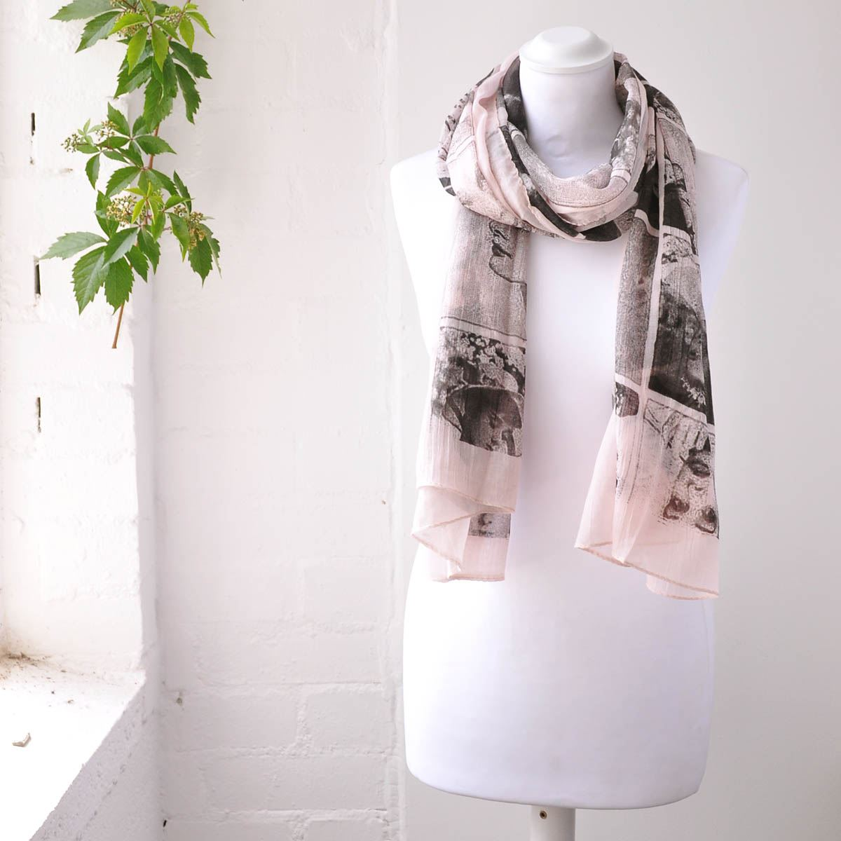 hepburn scarf portrait big size soft cotton