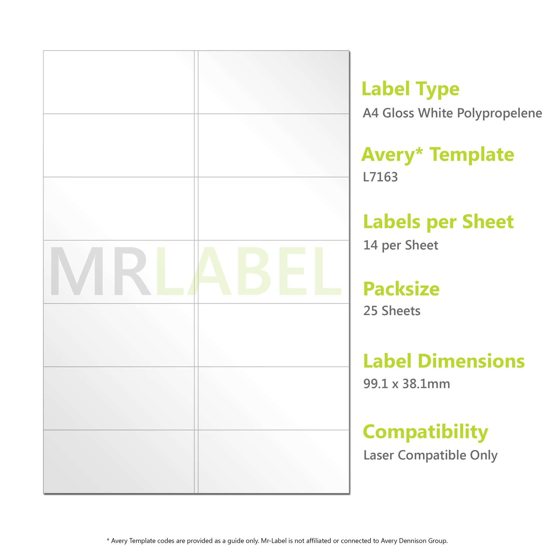 A4 Gloss White PP Labels - 14 Per Sheet - 25 Sheets