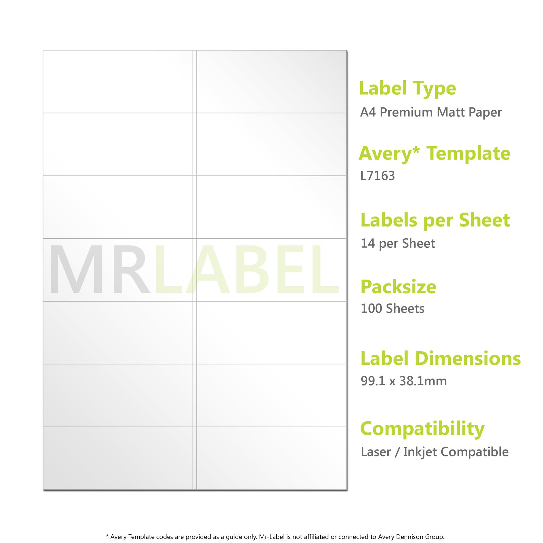Avery compatible a4 self adhesive labels l7163 j8163 14 for Avery 14 labels per sheet template
