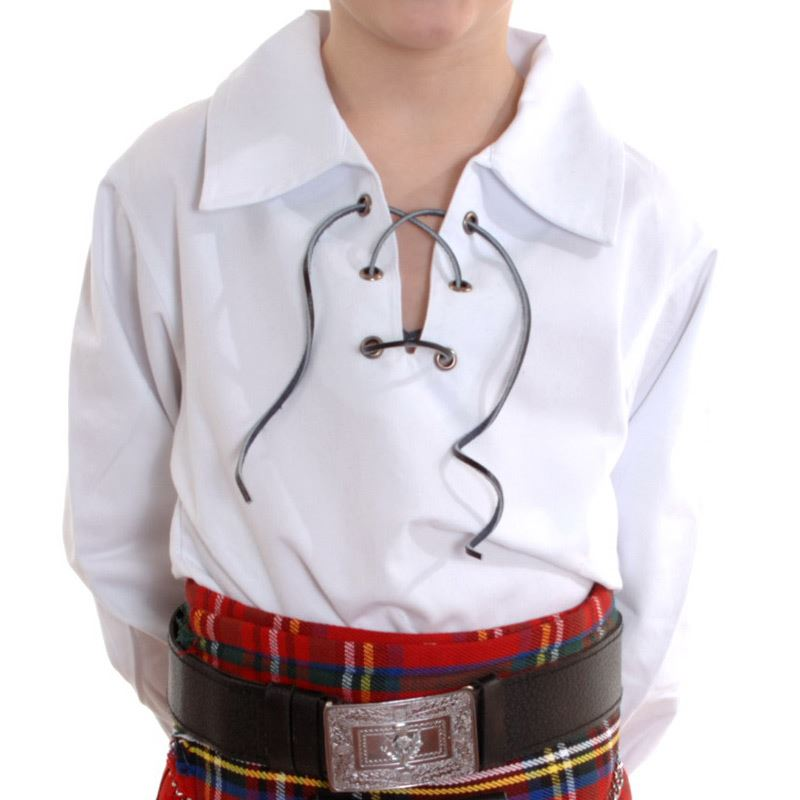 New Boys Scottish White Ghillie Kilt Shirt Sizes 0 13