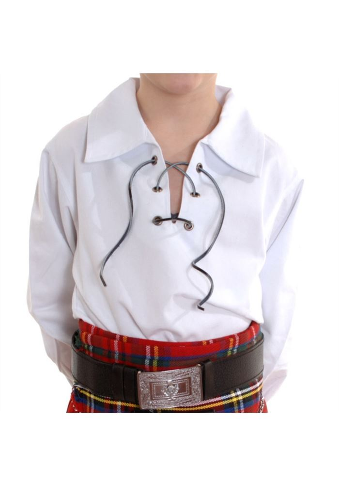 New boys scottish white ghillie kilt shirt sizes 0 13 for 7 year old boy shirt size
