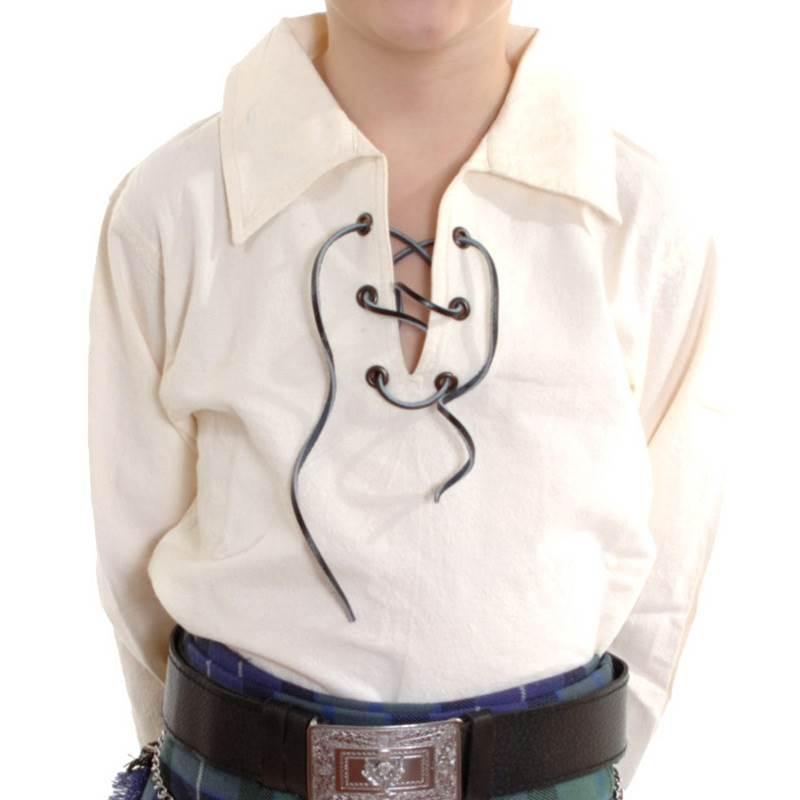 New boys scottish cream ghillie kilt shirt sizes 0 13 for 7 year old boy shirt size