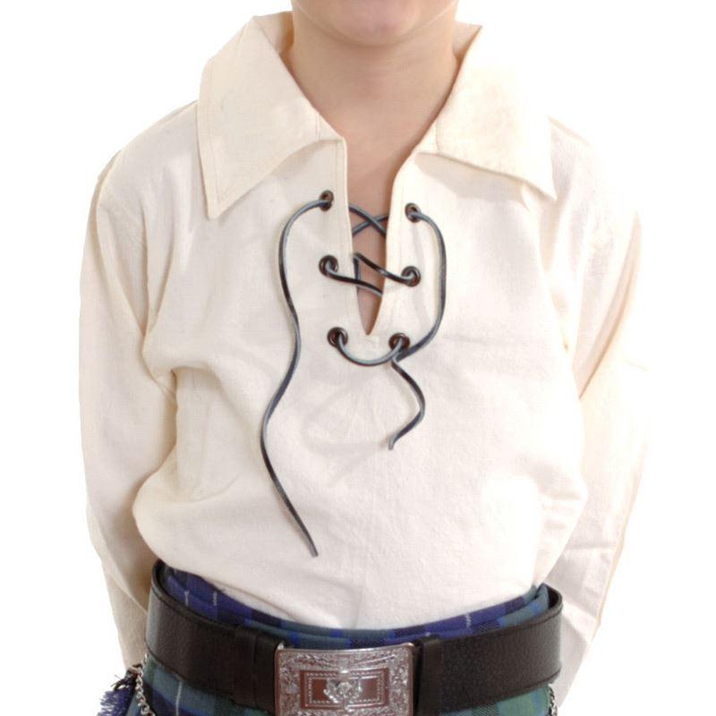 New boys scottish cream ghillie kilt shirt sizes 0 13 for What size shirt for 8 year old boy