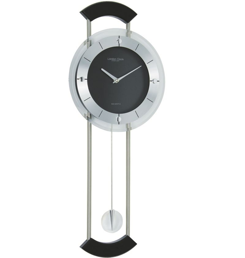 Black Silver Contemporary Pendulum Wall Clock 62cm Ebay