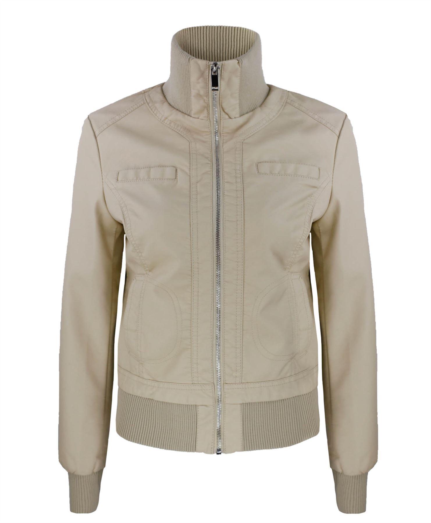 Faux leather bomber jacket women