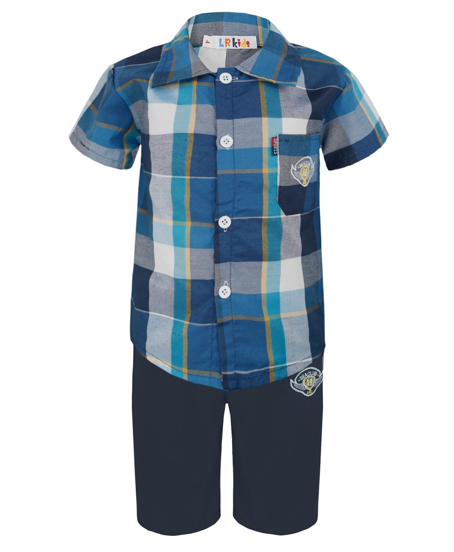 BOYS CHECKED SHORT SLEEVE SHIRT & SHORTS 2 PIECES SET KIDS ...