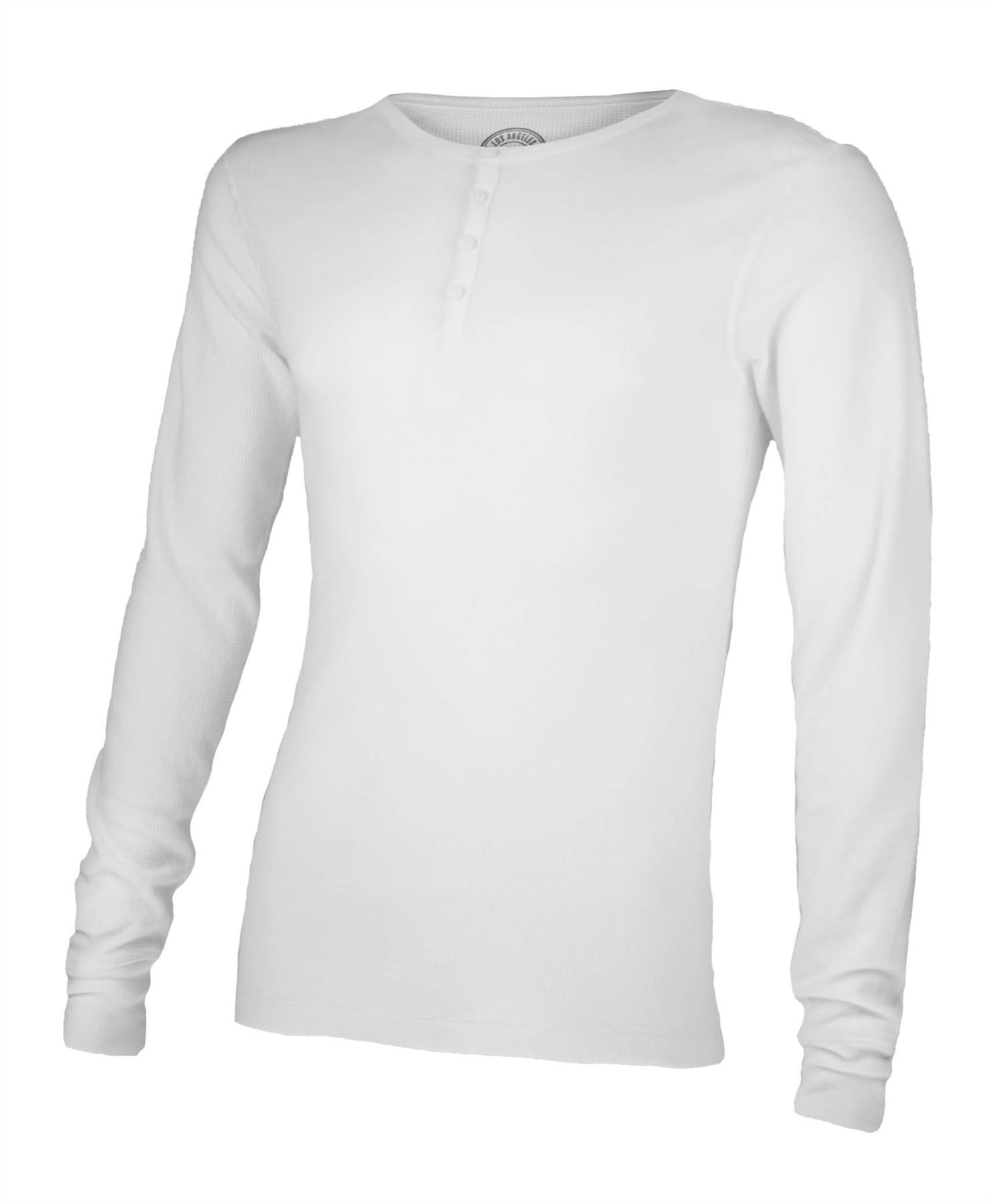 MENS LONG SLEEVE WAFFLE THERMAL BUTTON TOP SWEATSHIRT JERSEY T ...