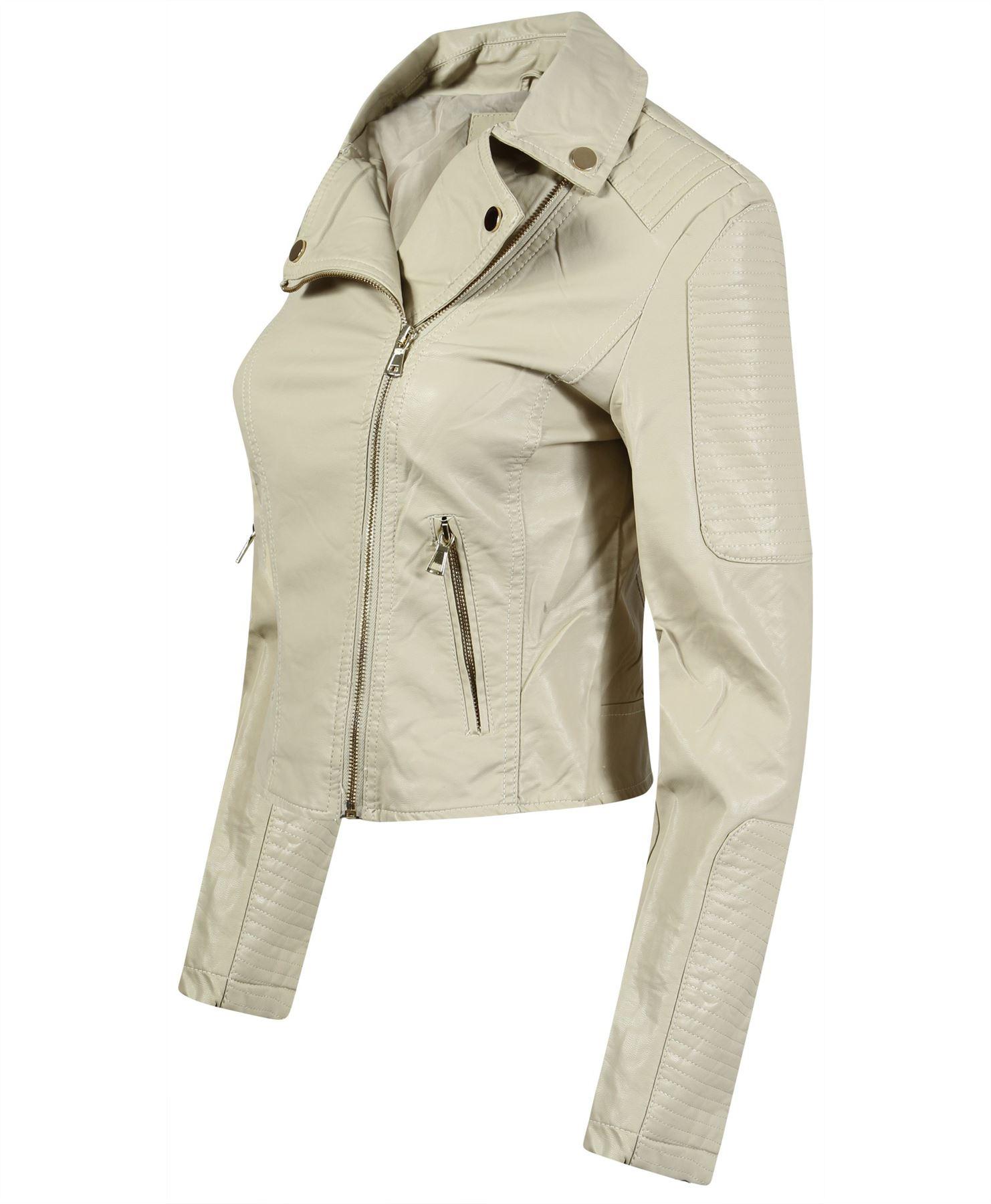 Womens Soft Faux Leather Quilted Zip Jacket Ladies Biker Crop Coat Sizes S Xl Ebay