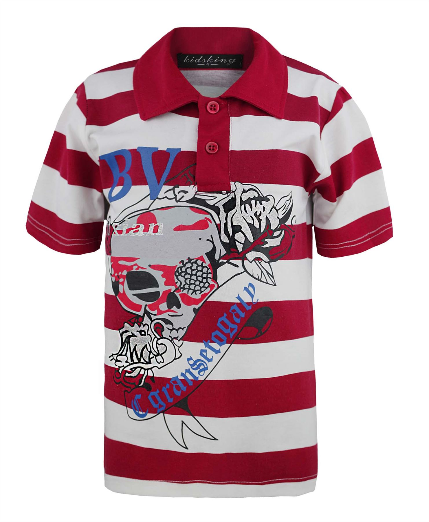 Kids shimmering skull print t shirt boys girls stripy polo for What size shirt for 8 year old boy