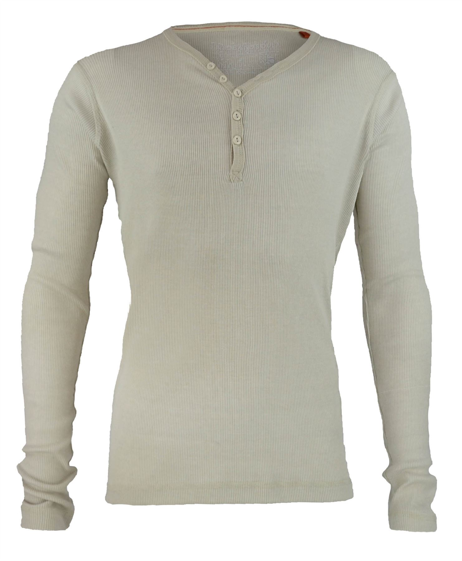 Mens V Neck Button Top Jersey Ribbed Sweatshirt Long