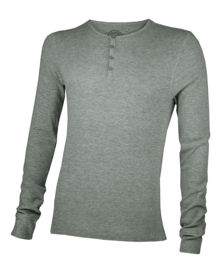 Mens Long Sleeve Waffle Thermal Button Top Sweatshirt