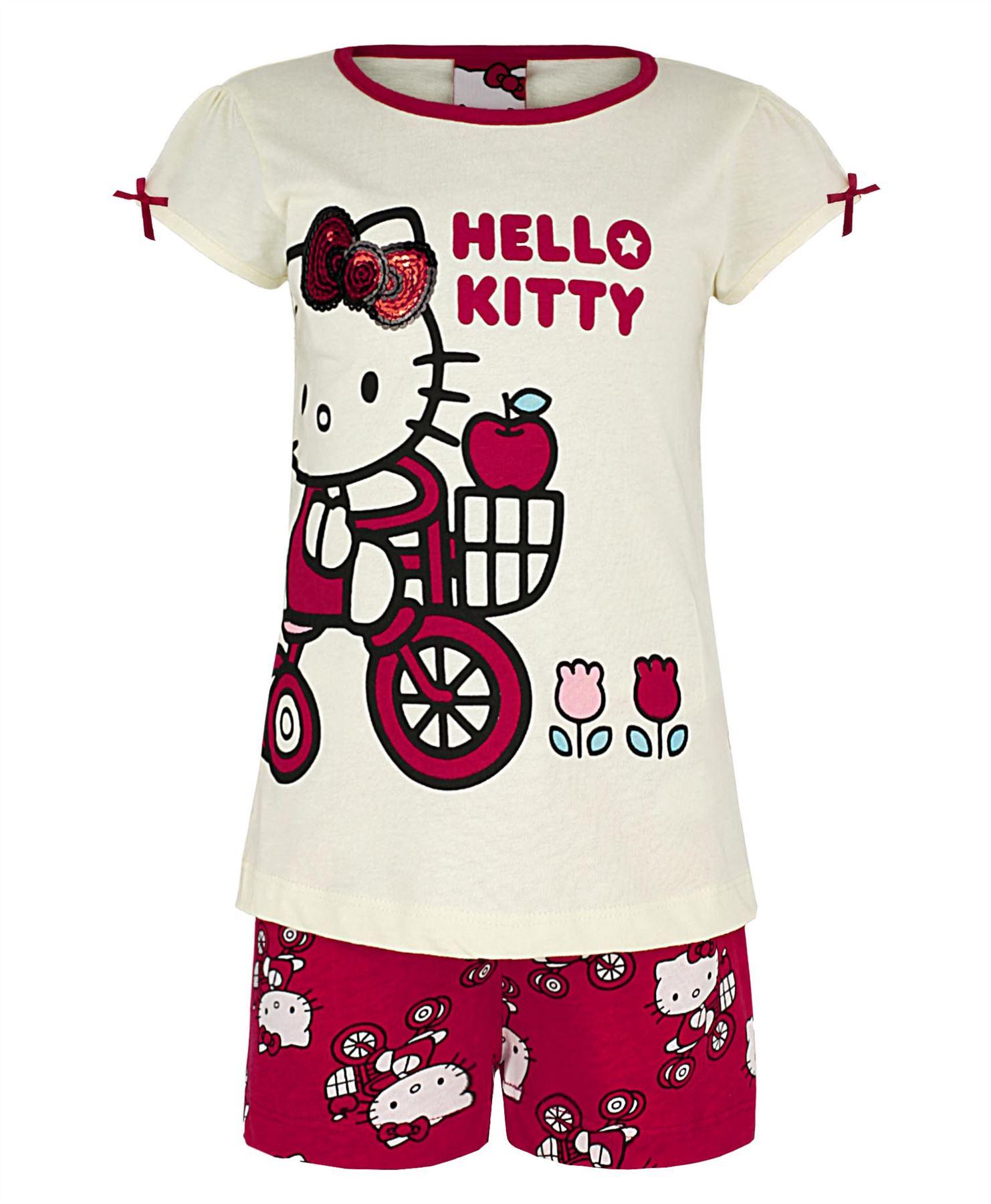 Girls hello kitty nightwear cotton pyjama top shorts set dress kids pjs 2 8 y ebay - Table de nuit hello kitty ...