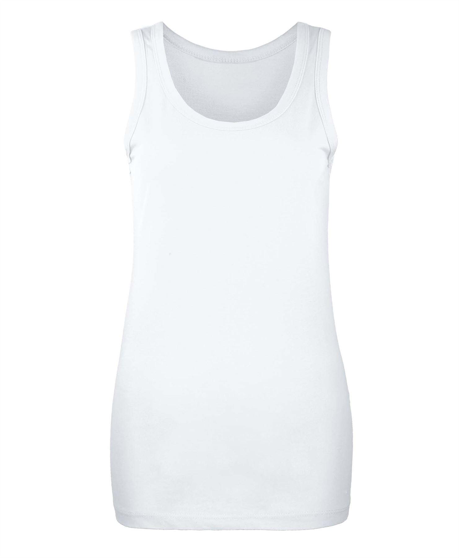 Ladies Slim Fit Plain Vest Top Womens Basic Cotton T Shirt