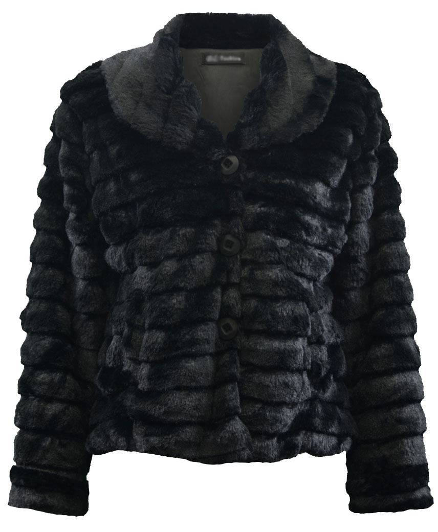 LADIES LIGHT SOFT FAUX FUR JACKET LONG SLEEVE WOMAN'S