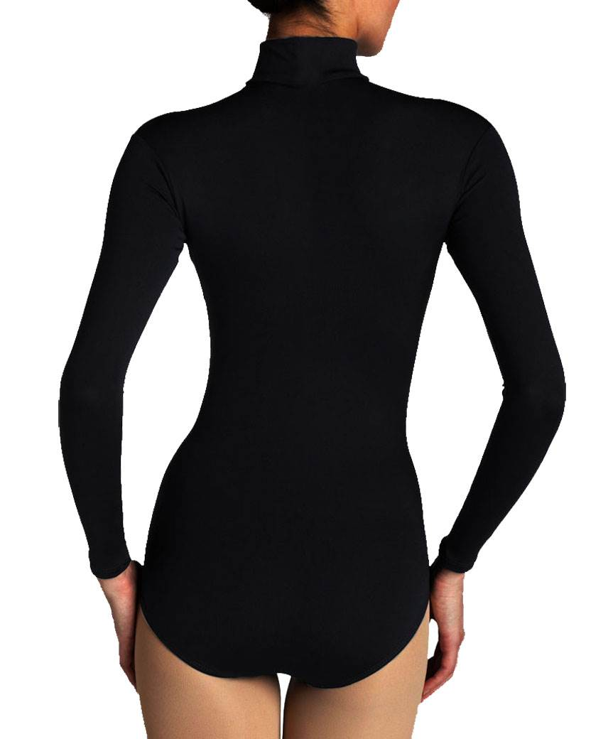 Ladies-Nylon-Long-Sleeve-Turtleneck-Bodysuit-Womens-Seemless-Leotard-Top
