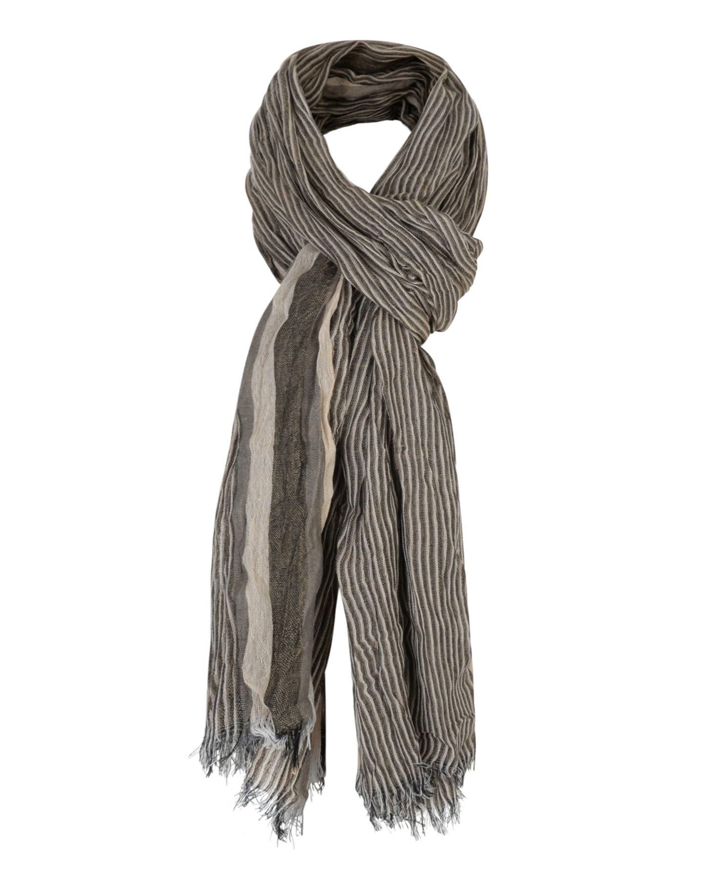 mens crinkled stripe print scarf soft lightweight wrap