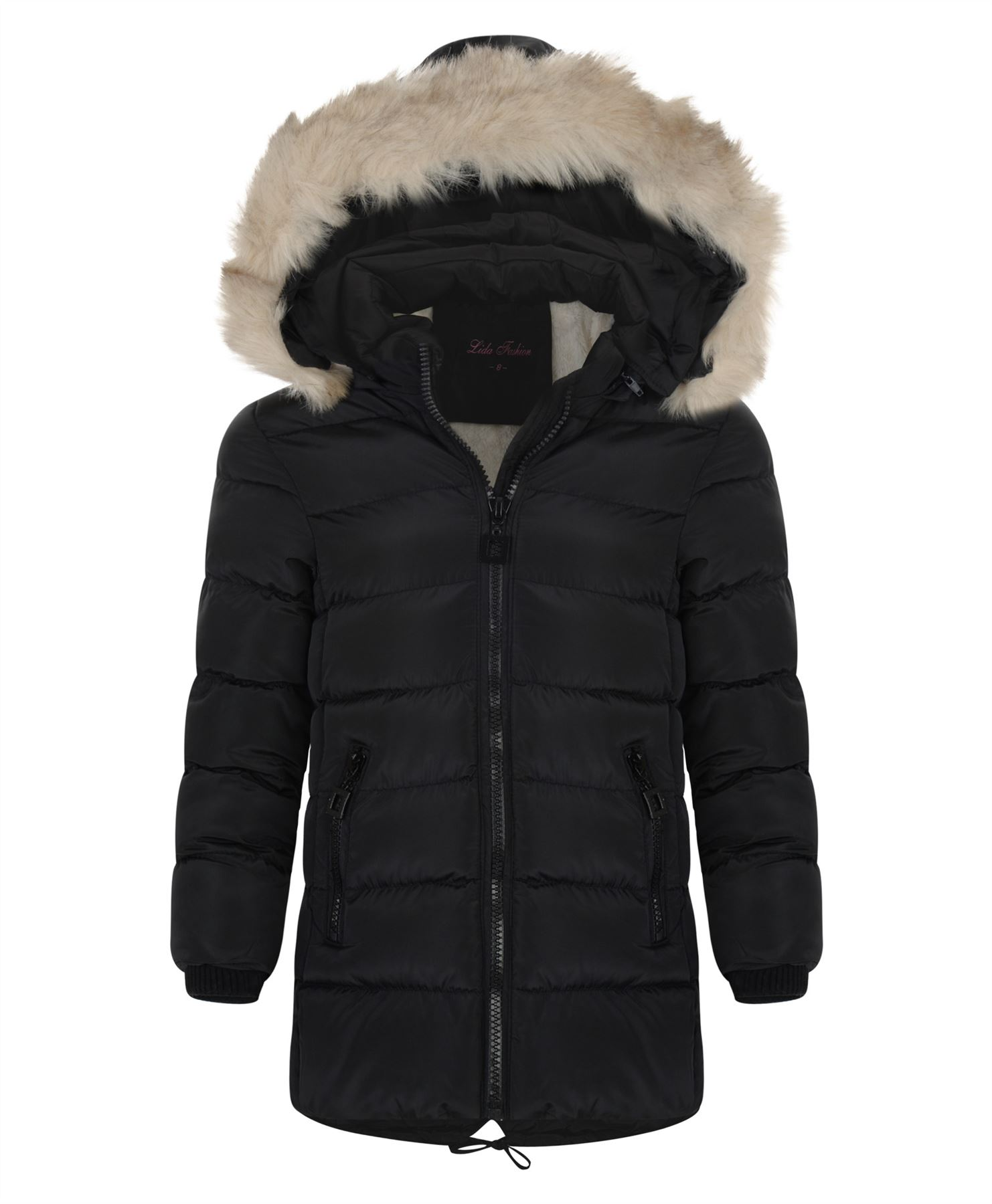 Girls Long Down Quilted Winter Jacket Kids Detach Hood Zip ...