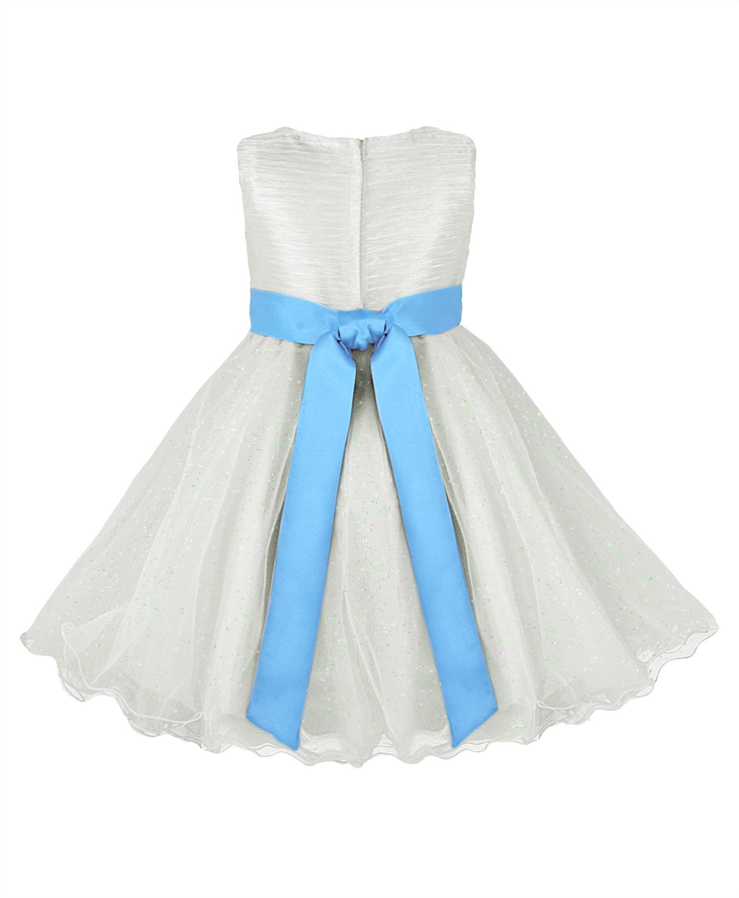 GIRLS TULLE PARTY DRESS BOW DETAIL FLOWER GIRL WEDDING PAGEANT BRIDESMAID 2-12 Y