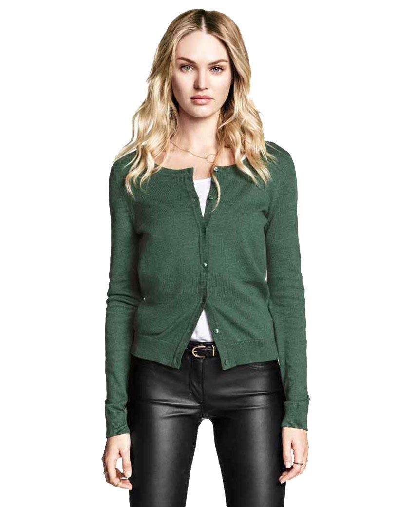 Ladies Fine Knit Cardigan Womens Ex H&M Long Sleeve Round Neck Top ...
