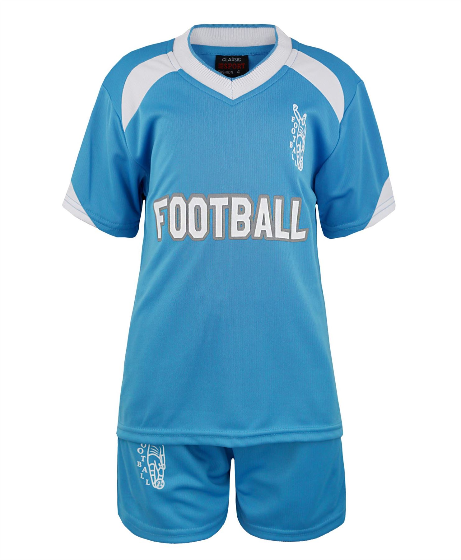 KIDS-2-PIECE-T-SHIRT-SHORTS-SET-FOOTBALL-PRINT-GIRLS-BOYS-SPORTS-KIT-3-14-YEAR
