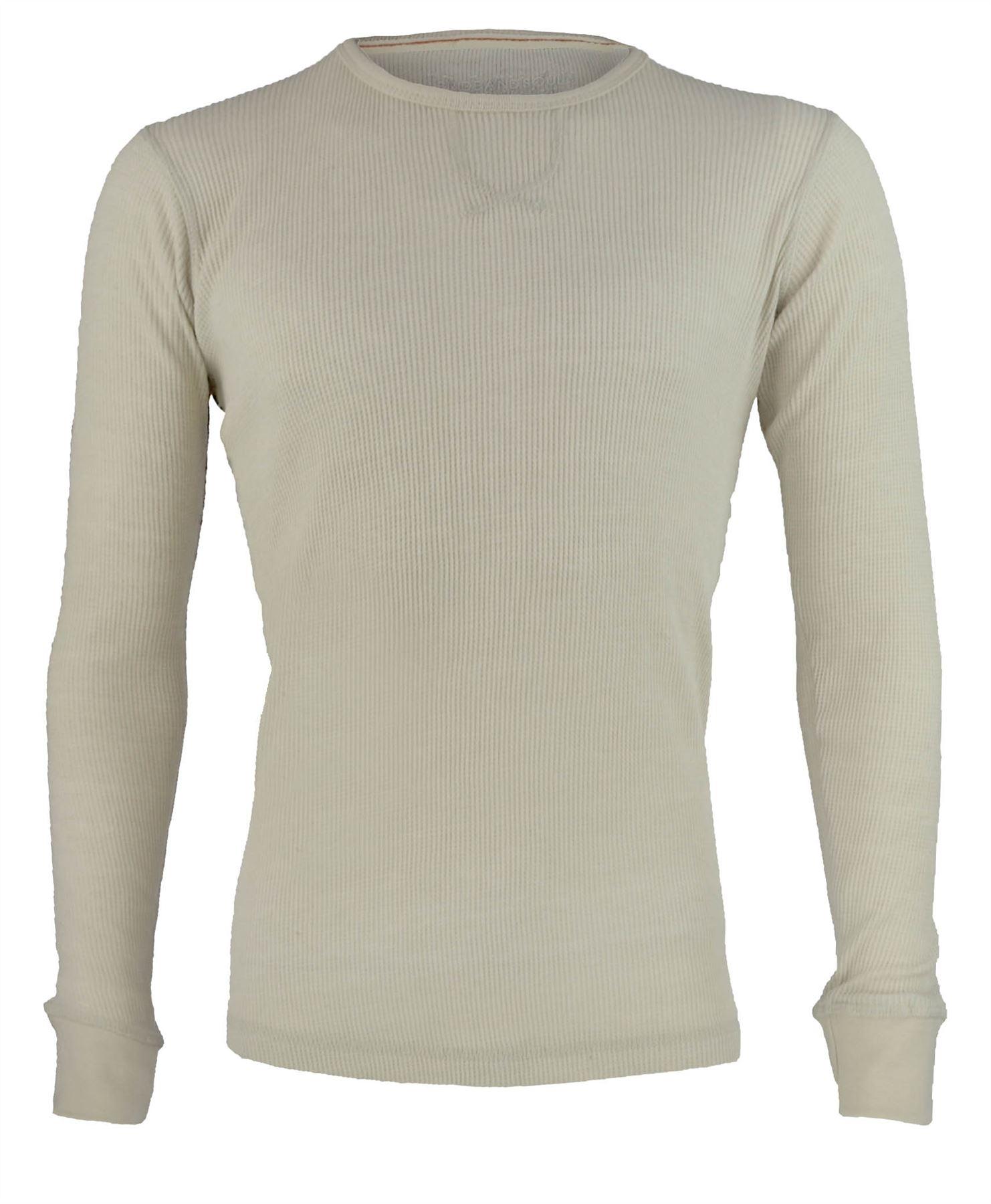 mens waffle top long sleeve round neck sweatshirt thermal