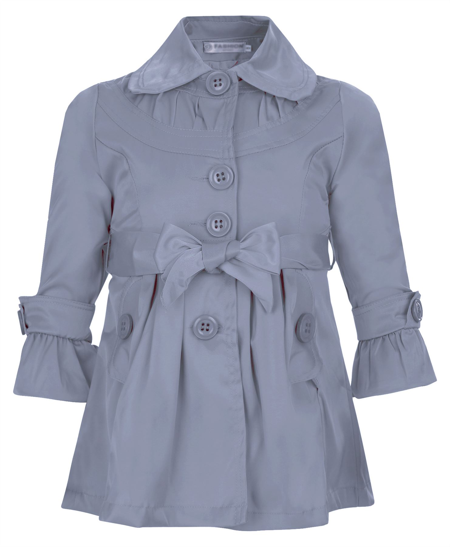 Girls Belted Mac Kids Plain Rain Button Jacket Lined Trench Coat ...