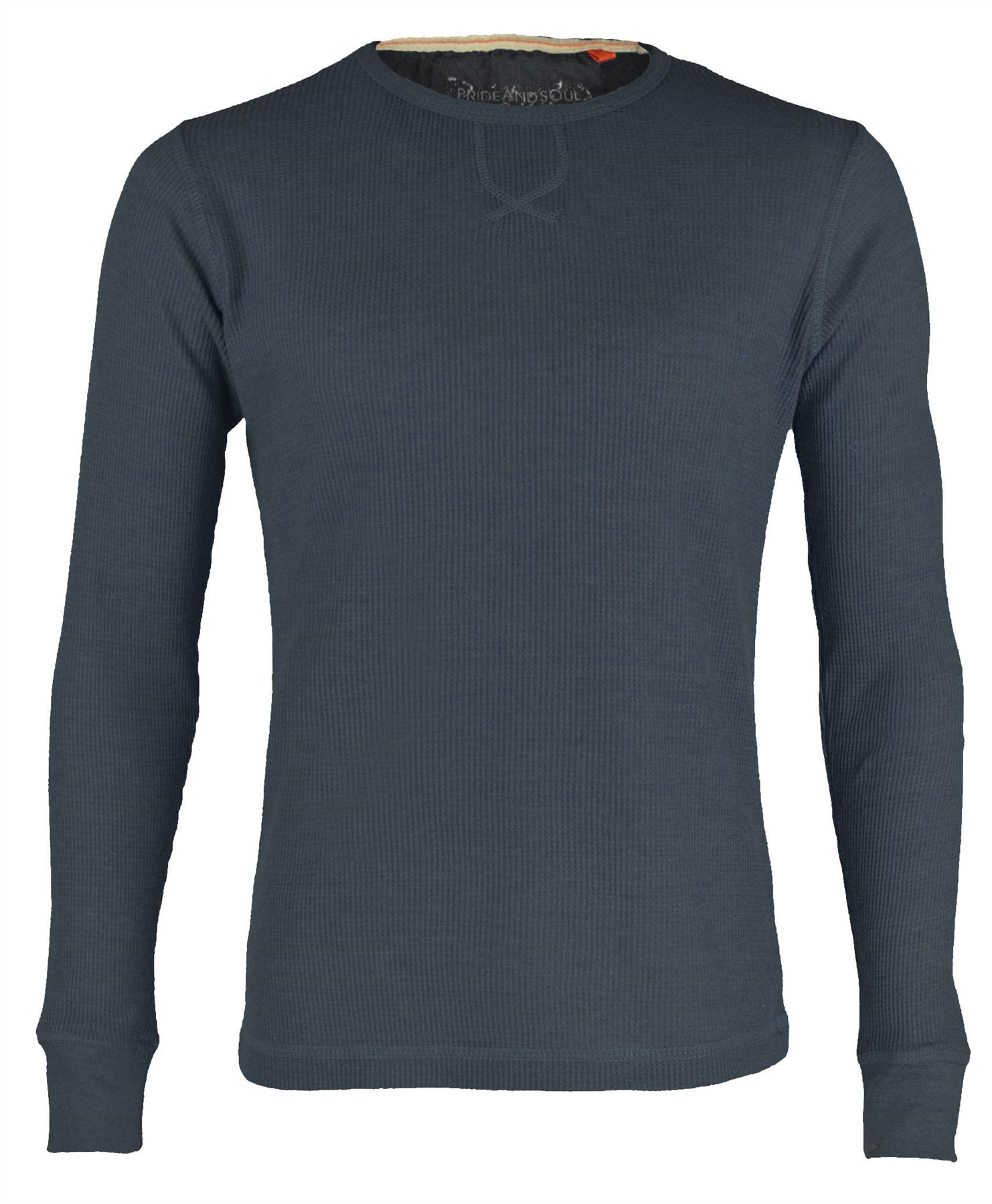 Mens waffle top long sleeve round neck sweatshirt thermal for Mens black thermal t shirts