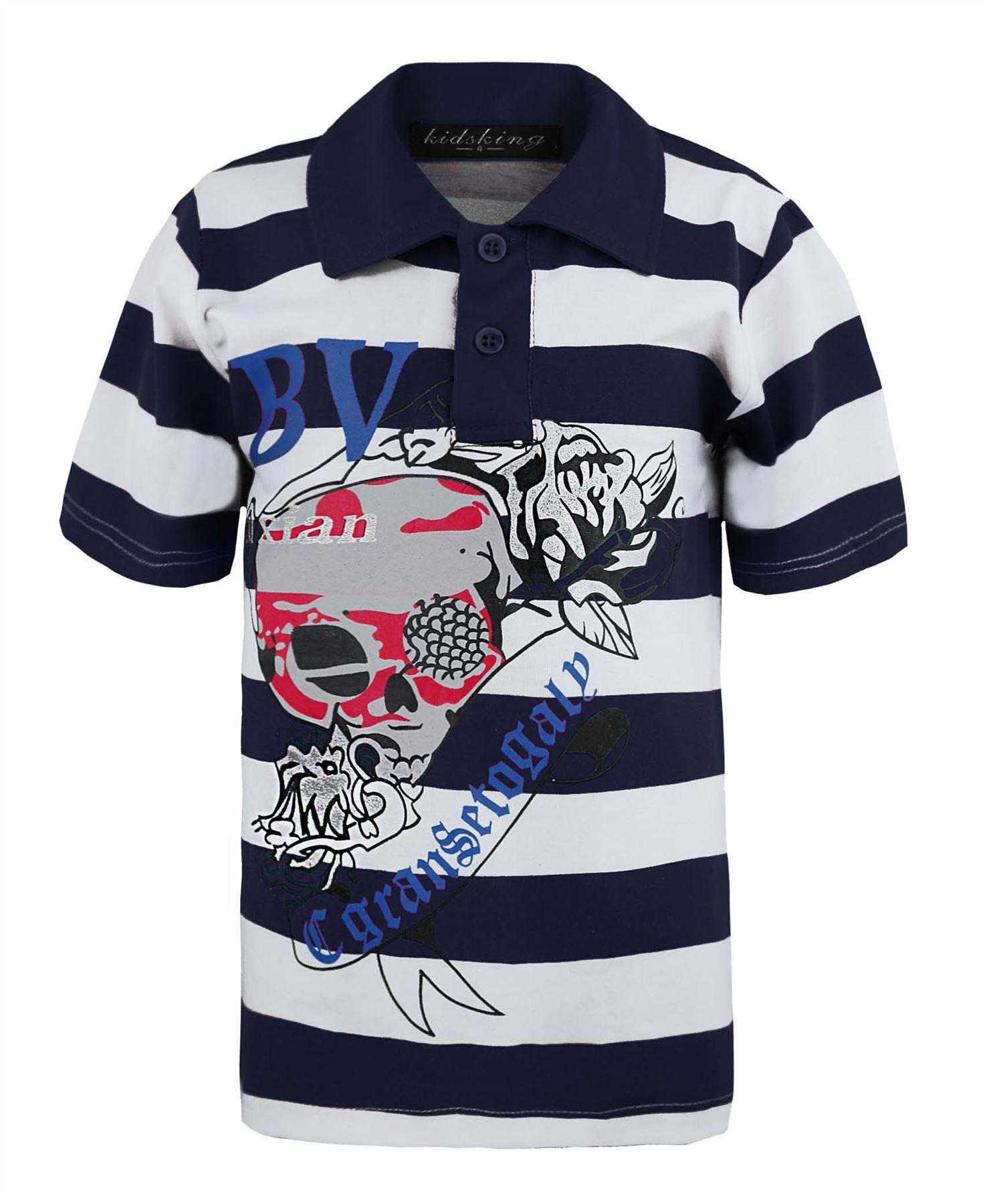 Kids shimmering skull print t shirt boys girls stripy polo for 7 year old boy shirt size
