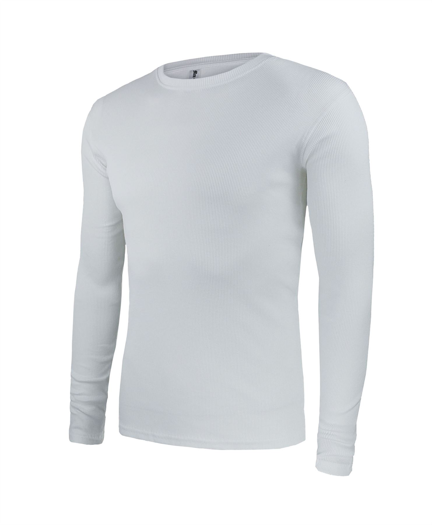 Mens Ribbed Cotton Top Round Neck Long Sleeve Jersey T-Shirt Size ...